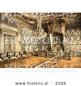 Historical Photochrom of the Bedroom Interior of Marie Antoinette by Al