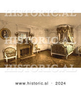 Historical Photochrom of the Bedroom of Marie Antoinette at Petit Trianon by Al
