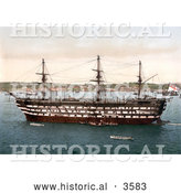 Historical Photochrom of the Royal Navy HMS Impregnable Training Ship in Plymouth Devon England UK by Al