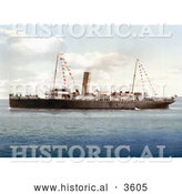 Historical Photochrom of the Steamer Boat Vera by Al