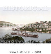Historical Photochrom of the Steamer, RMS Pembroke Castle by Al
