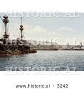 Historical Photochrom of Warships in the Harbor, Algiers, Algeria by Al