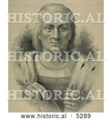 Historical Portrait of Christopher Columbus Facing Front and Resting His Hand over America on a Globe by Al