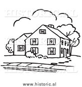 January 1st, 2014: Historical Vector Clipart of a House Outline with Trees and a Sidewalk by Al