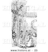 Historical Vector Illustration of a Boy over a Courtyard with People - Black and White Version by Al
