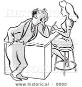 Historical Vector Illustration of a Cartoon Businessman Staring at a Pretty Girl Working at a Desk - Black and White Outlined Version by Al