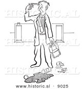 Historical Vector Illustration of a Cartoon Elderly Man Pointing a Gun to His Head After Spilling His Lunch at Work - Black and White Outlined Version by Al