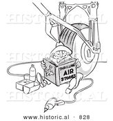 Historical Vector Illustration of a Cartoon Male Airplane Assembly Worker Reading a Book and Eating Lunch - Black and White Outlined Version by Al