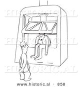 Historical Vector Illustration of a Cartoon Male Worker Sitting in a Machine Press - Black and White Outlined Version by Al