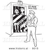 Historical Vector Illustration of a Cartoon Officer Writing Tickets to Trespassers in an Air Raid Shelter - Black and White Outlined Version by Al