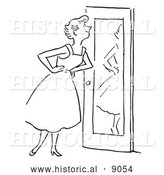 Historical Vector Illustration of a Happy Girl Smiling at Herself in Front of a Mirror - Black and White by Al