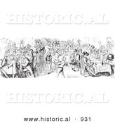 Historical Vector Illustration of a Hotel Diner Filled with Hungry Customers - Black and White Version by Al