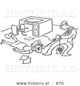 Historical Vector Illustration of a Mad Cartoon Man Trying to Jerk a Phone out of a Female Office Worker's Hand - Black and White Outlined Version by Al