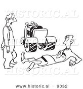 Historical Vector Illustration of a Shocked Cartoon Farmer Looking at a Injured Man Lying on the Ground with Tractor Tire Marks Through His Body - Black and White Outlined Version by Al