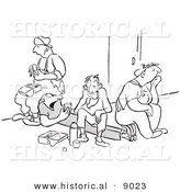 Historical Vector Illustration of a Unhappy Cartoon Workers Eating Lunch - Black and White Outlined Version by Al