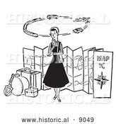 Historical Vector Illustration of a Young Lady Thinking About Different Ways of Traveling the World - Black and White by Al