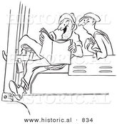 Historical Vector Illustration of Happy Cartoon Male Workers Reading an Exciting Story - Black and White Outlined Version by Al