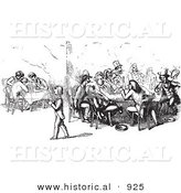 Historical Vector Illustration of People Dining and Chatting at a Restaurant - Black and White Version by Al