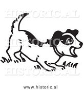 Illustration of a Barking Puppy - Black and White by Al