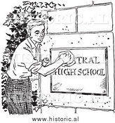 Illustration of a Boy Cleaning High School Sign - Black and White by Al