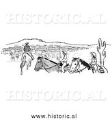 Illustration of a Cowboy Teaching His Son and Daughter About Cattle Herd - Black and White by Al