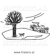 Illustration of a Dog Walking Around Property in the Winter - Black and White by Al