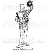 Illustration of a Grinning Young Man Offering a Heavy Ball and Chain Attached to a Commitment by Al