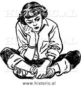 Illustration of a Mad Teen Girl Sitting on the Floor with a Bad Attitude by Al