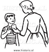 Illustration of a Mom Giving Son Money - Retro Black and White Version by Al