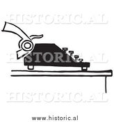 Illustration of a Retro Typewriter with Paper - Black and White by Al