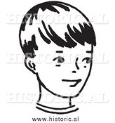 Illustration of a Smiling Little Boy - Retro Black and White Version by Al