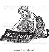 Illustration of a Smiling Young Lady Laying down a Welcome Mat - Black and White by Al