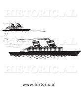 Illustration of a Steamboats Moving Forward - Black and White by Al