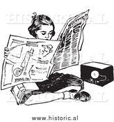 Illustration of a Teen Girl Reading Newspaper While Sitting on Floor Beside Radio by Al