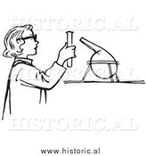 Illustration of a Young Girl Conducting a Science Experiment in a Lab - Black and White by Al