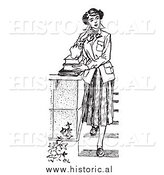 Illustration of a Young Girl Posing with Books on Steps - Black and White by Al