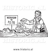 Illustration of a Young Lady Looking Through Pile of Clothes on Sale by Al