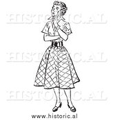 Illustration of a Young Lady Thinking - Black and White by Al