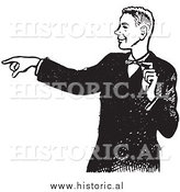 Illustration of a Young Man in a Tux Pointing His Finger While Grinning - Black and White by Al
