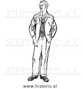 Illustration of a Young Man Standing with His Hands in Jacket Pockets - Black and White by Al