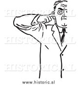 Illustration of an Annoyed Man Plugging His Ear with Finger - Black and White by Al