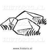 Illustration of Three Big Boulders - Black and White by Al
