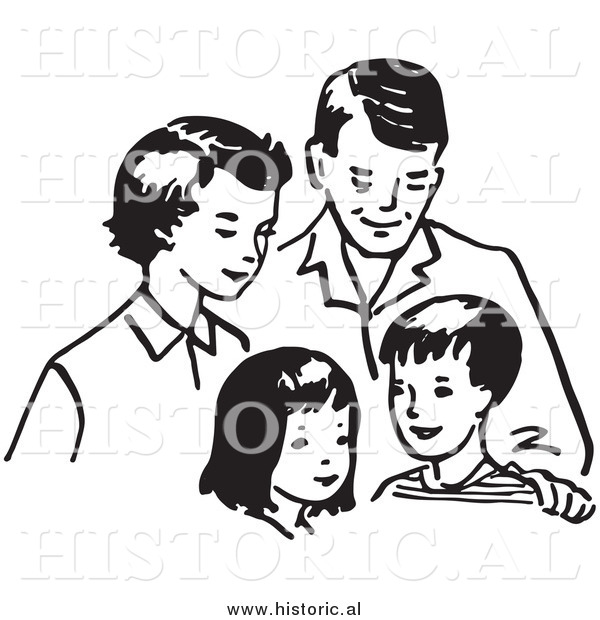 Clipart of a Happy Family Together: Mom, Dad, Daughter, and Son - Black and White Outline