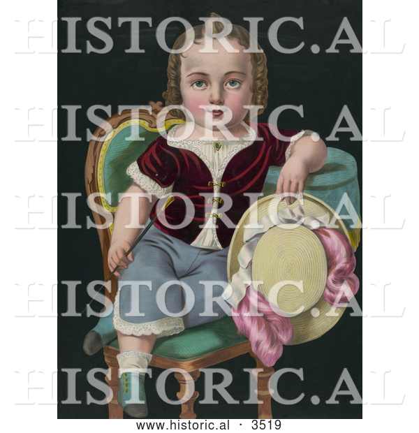 Historical Illustration of a Child Sitting in a Chair, Holding a Riding Crop and Hat