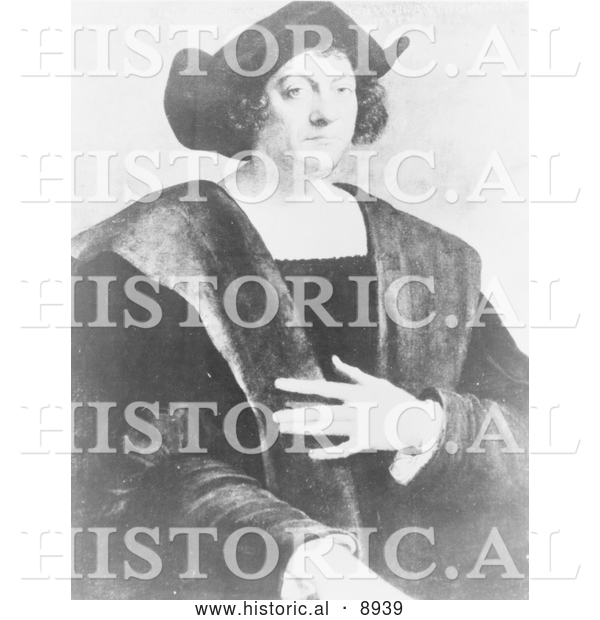 Historical Illustration of a Portrait of Christopher Columbus by Sebastiano Del Piombo - Black and White Version
