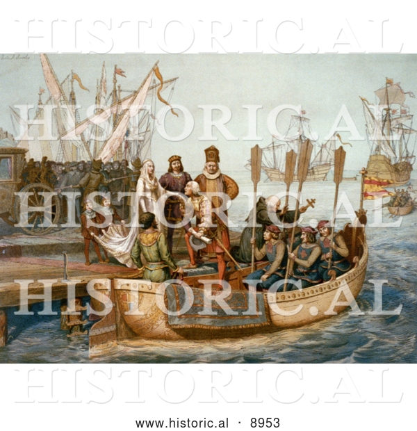 Historical Illustration of the First Voyage of Christopher Columbus