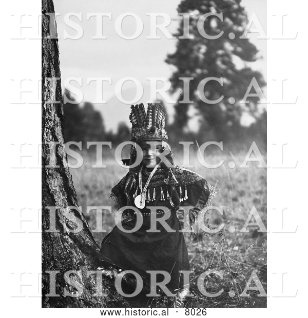 Historical Image of Native American Salish Indian Boy 1910 - Black and White