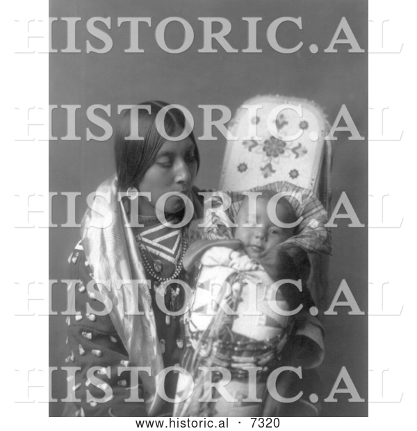 Historical Photo of Apsaroke Native Woman with Baby 1908 - Black and White