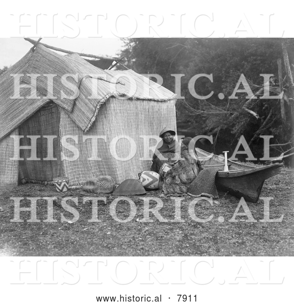 Historical Photo of Skokomish Women by Shelter 1913 - Black and White