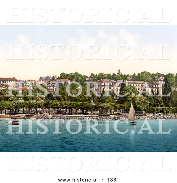Historical Photochrom of a Sailboat on Geneva Lake near Hotel Beaurivage in Ouchy, Switzerland